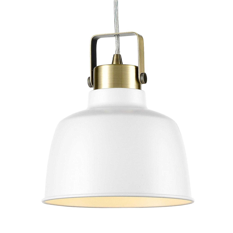 Light Society Mercer Mini Pendant Light, Matte White Shade with Brushed Brass Finish, Modern Industrial Farmhouse Lighting Fixture (LS-C169-WHI)
