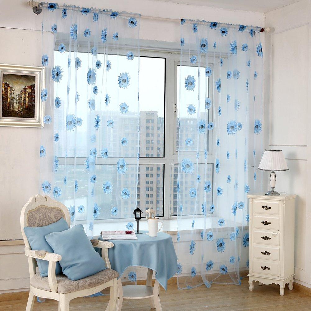 Amazon.com : Diamondo Chiffon Sunflower Curtain Sheer Drape Panel ...