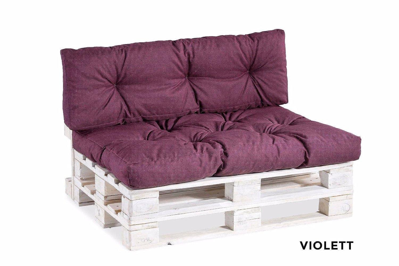 Palettenkissen Palettenauflagen Sitzkissen Rückenlehne Gesteppt 120x40 120x80 (Deko-Kissen 40x40, Pink) gutekissen