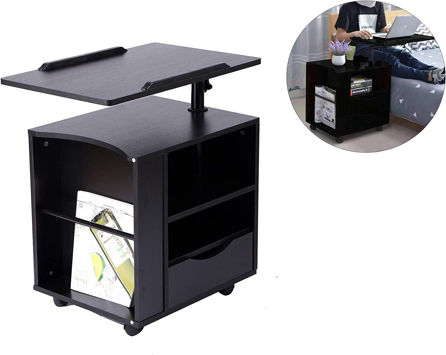 SIDUCAL Multi-Functional Wooden Bedside Table Height Adjustable & 360 Rotation Table top Rolling Laptop Desk Computer Table,Nightstand with Drawers, Black (Right Side)