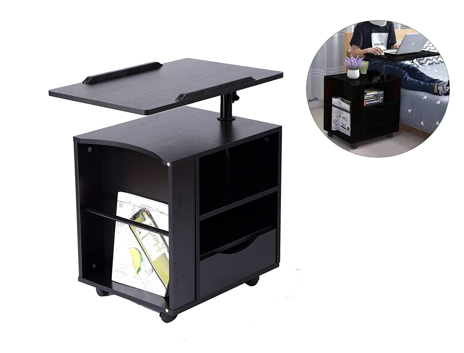 BarleyHome Functional Bedside Table Adjustable & Swiel Wooden Nightstand with Drawers, Rolling Laptop Desk Computer Table, Black (Right Side)