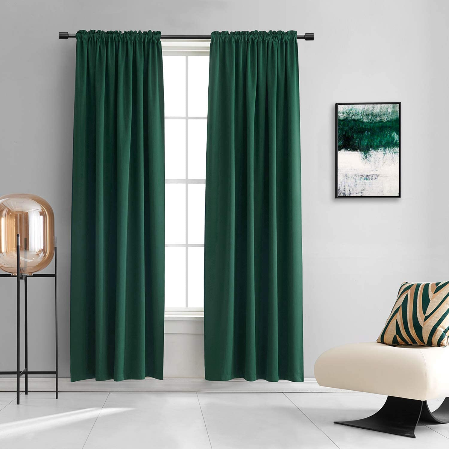 DONREN Hunter Green Blackout Thermal Insulating Window Curtains for Bedroom - 90 Inch Length Room Darkening Curtain Panels for Living Room with Rod Pocket,2 Panels