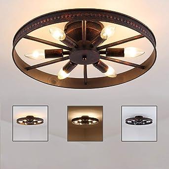 Landhaus Deckenleuchte Flammig Decorative Leuchte Runde E14 Eisen Ring X Lampe Max60w Deckenlampe Rost Rad Industry RetroVintage 6 ynOvm80Nw