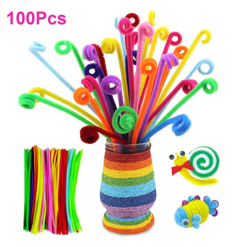 Including 200 Pcs Pom Poms 150 Pcs Self-Sticking Wiggle Googly Eyes and 100 Pcs Chenille Stems for Craft and Hobby Supplies Willcomes Creative 450 Pieces Pipe Cleaners Set