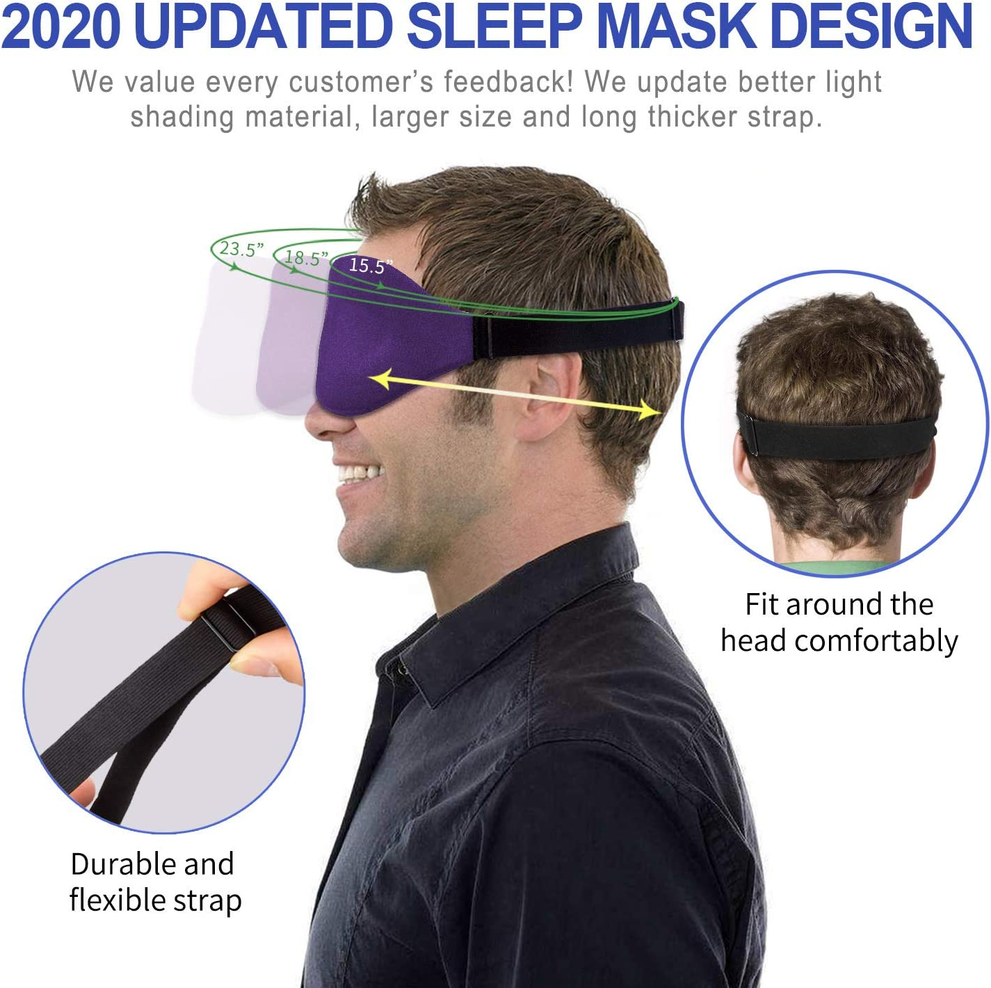 3D Sleep Mask, New Arrival Sleeping Eye Mask for Women Men, Contoured Cup Night Blindfold, Luxury Light Blocking Eye Cover, Molded Eye Shade with Adjustable Strap for Travel, Nap, Meditation, Purple: Health & Personal Care
