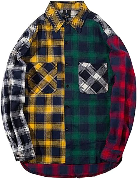 BYWX Men Button Up Color Block Long Sleeve Casual Plaid Printed Slim Fit Shirt Top