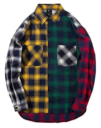6b83a04a9874 LifeHe Men Women Plaid Shirts Colour Block Long Sleeve Button Up Jackets  Oversized at Amazon Men's Clothing store: