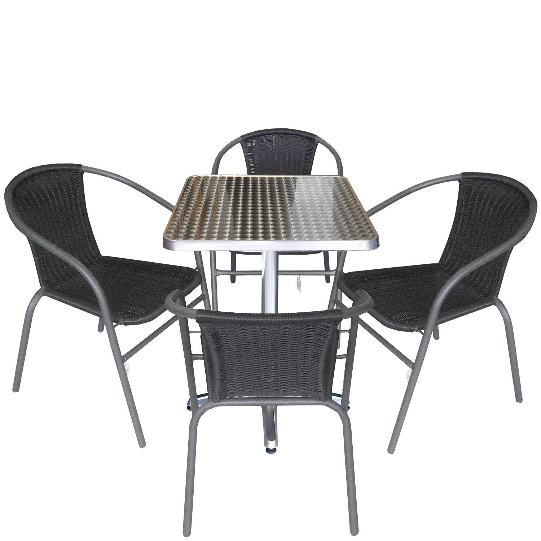 5tlg gartengarnitur balkonm bel terrassenm bel set sitzgruppe poly rattan stapelstuhl aluminium. Black Bedroom Furniture Sets. Home Design Ideas