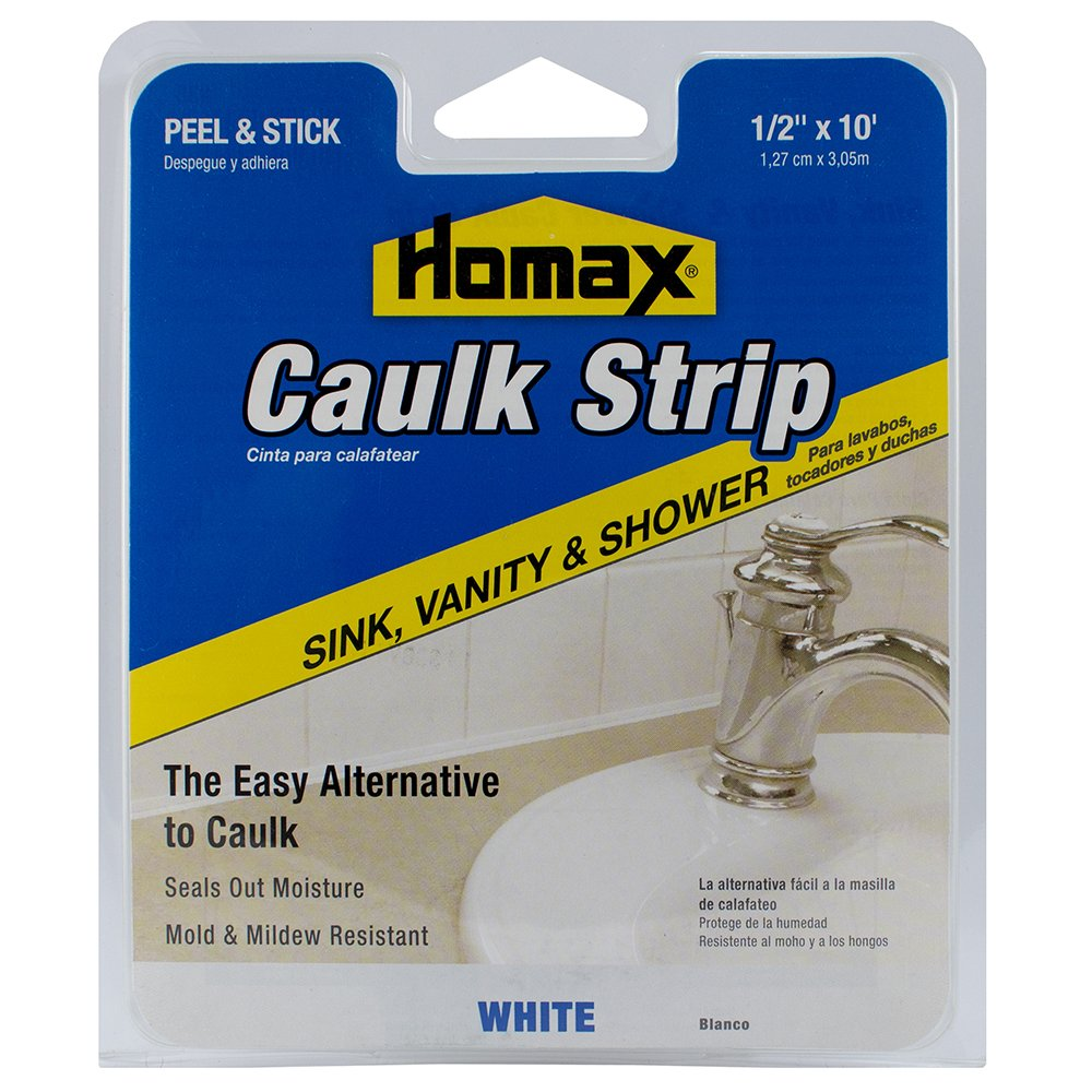 Caulk Strip White, 1/2'' x 10', Sink, Vanity and Shower Caulk Strip by Homax