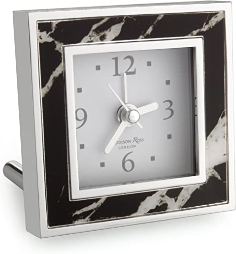Addison Ross Black Marble Alarm Clock