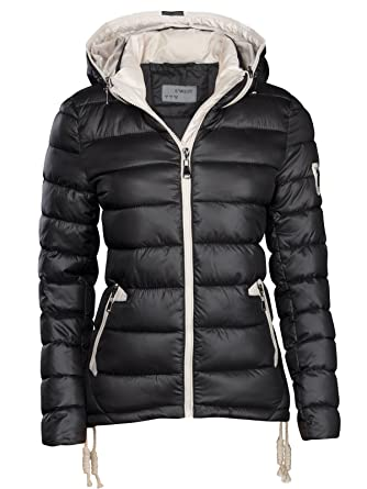 S'West Designer Damen Winter Jacke KURZ STEPP DAUNEN Optik Kapuze Kragen Skijacke