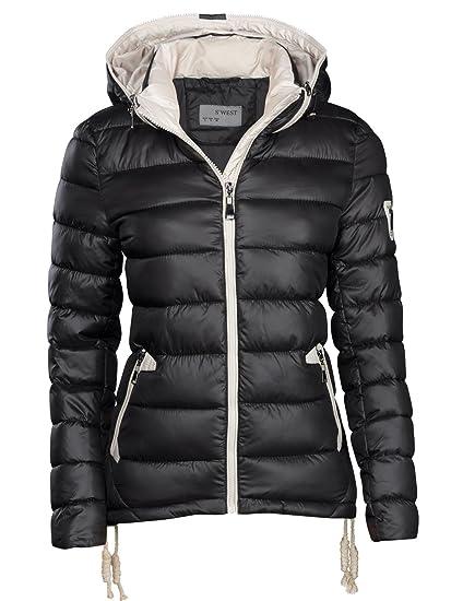 Designer Jacke Daunen S'west Skijacke Winter Kragen Optik Damen Kurz Stepp Kapuze ZuPkXOi