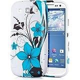 kwmobile FUNDA de TPU silicona para Samsung Galaxy S3 / S3 Neo Diseño estampado de flores azul negro blanco - Estilosa funda de diseño de TPU blando de alta calidad