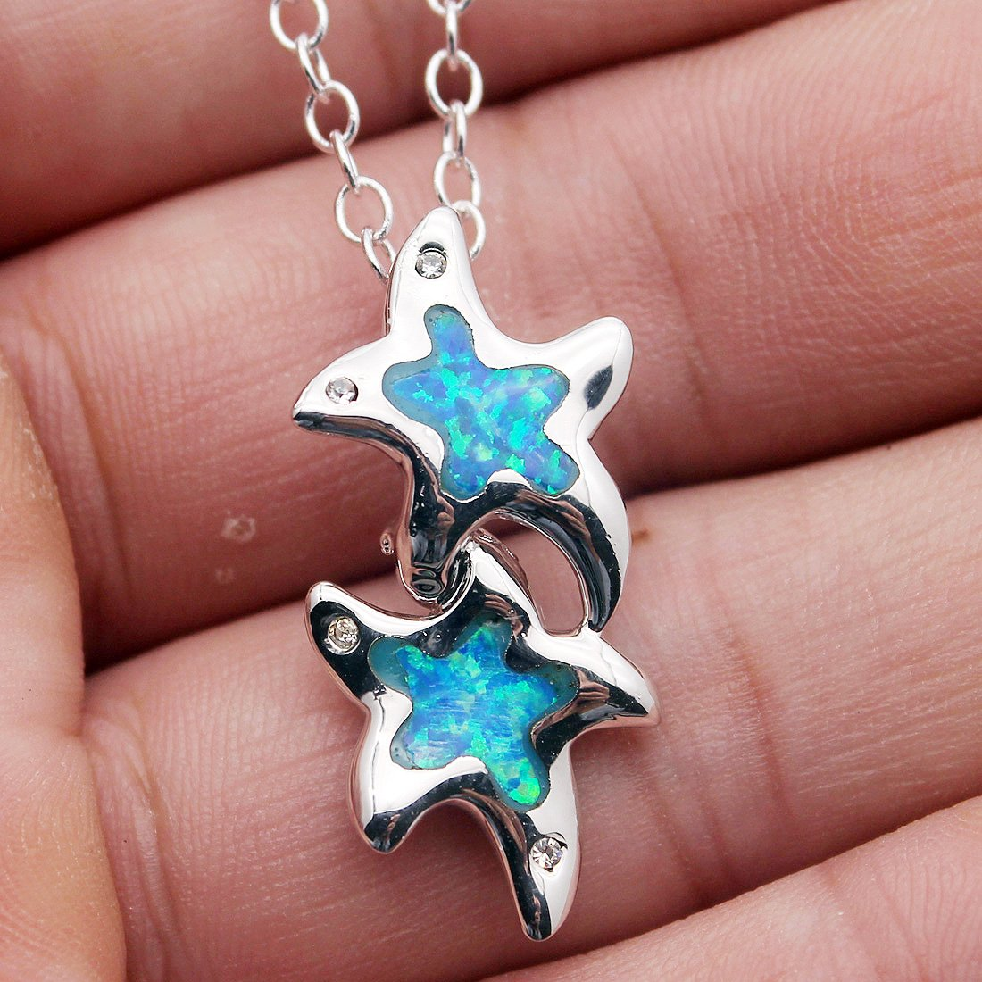 Hermosa Blue Australian Opal Necklace Pendant for Women Sterling Silver Fashion Jewelry Charms Gifts