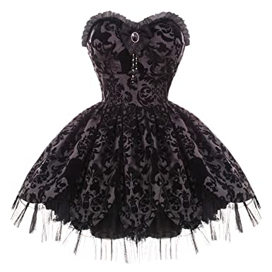 Hell Bunny Black Damask Petal Gothic Victorian Steampunk Mini Party Prom Dress 8 XS