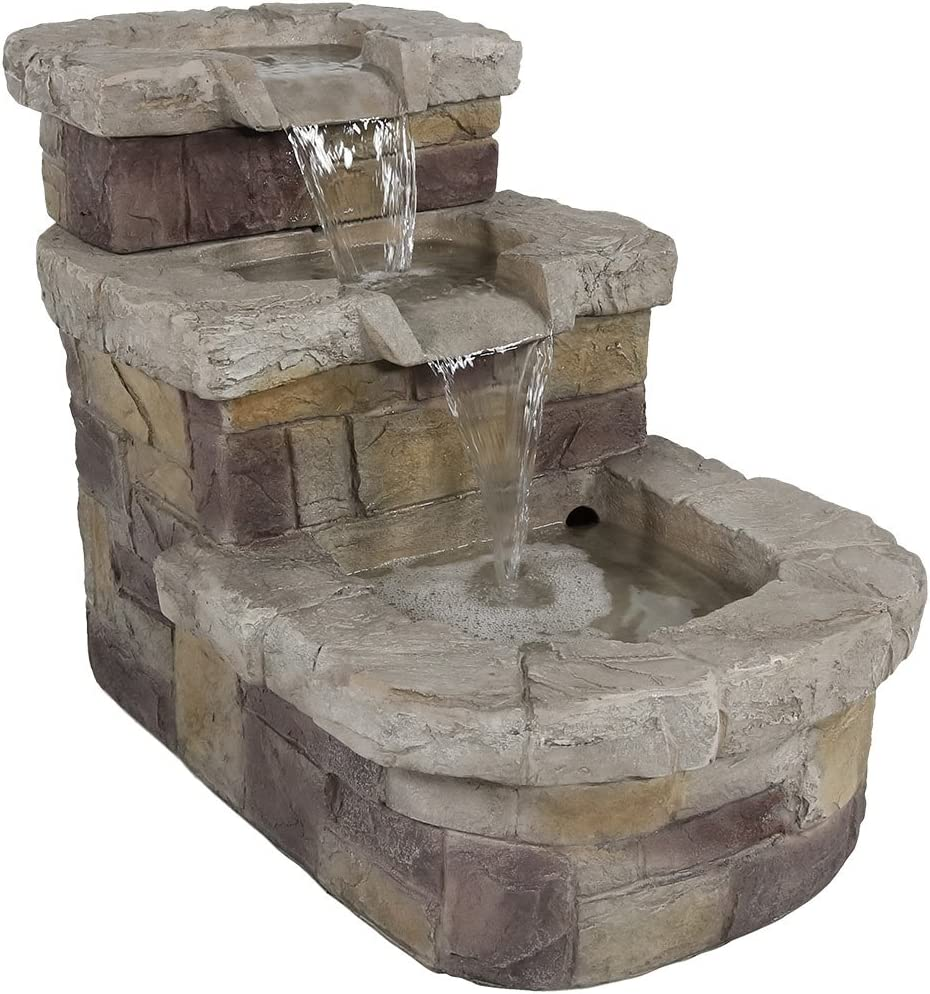Sunnydaze 3-Tier Brick Steps Outdoor Water Fountain, Patio and Garden Waterfall Feature, 21 Inch