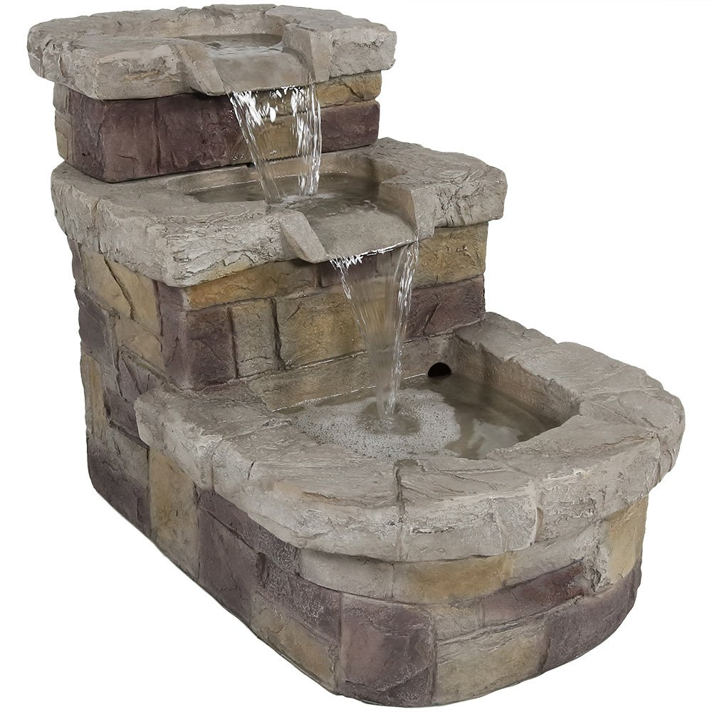 Sunnydaze 3-Tier Brick Steps Outdoor Water Fountain, 21 Inch, Includes Electric Submersible Pump