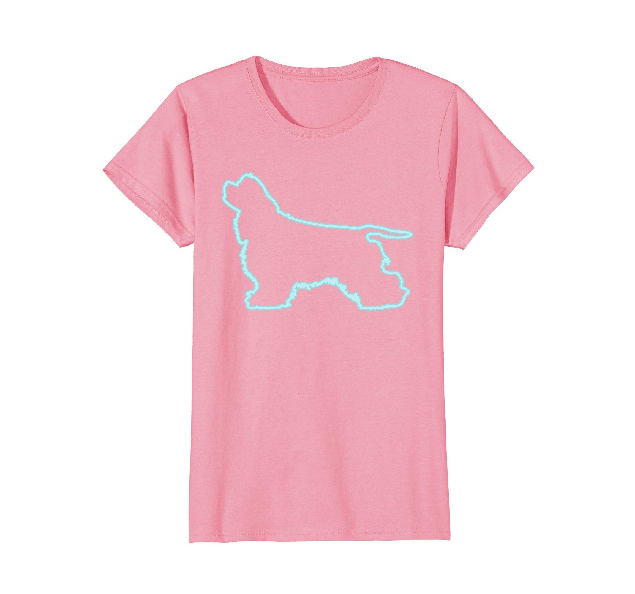 Womens 80s Retro Neon Sign Dog Cocker Spaniel T-Shirt. 80's Gift Small Pink