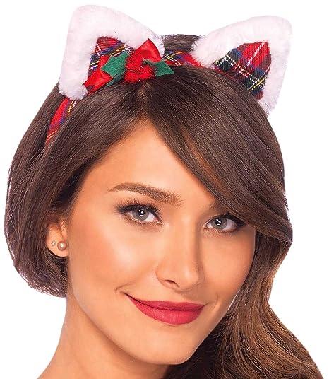 56701b8c33d Leg Avenue Christmas Kitty Ear Headband with Mini Hollyberry Bow