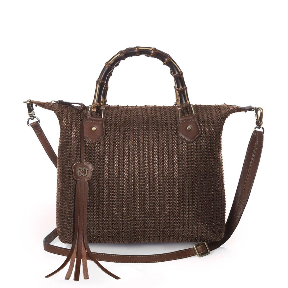 Eric Javits Luxury Fashion Designer Women's Handbag - Hilsey - Caper