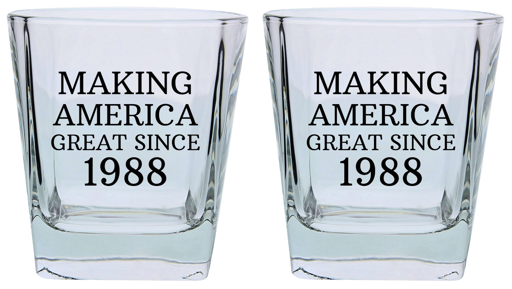 30th Birthday Gifts for Brother Sister Making America Great Since 1978 Republican Conservative 30th Birthday Party Supplies Square Lowball Glasses 2-Pack Square Lowball Tumbler Set Black