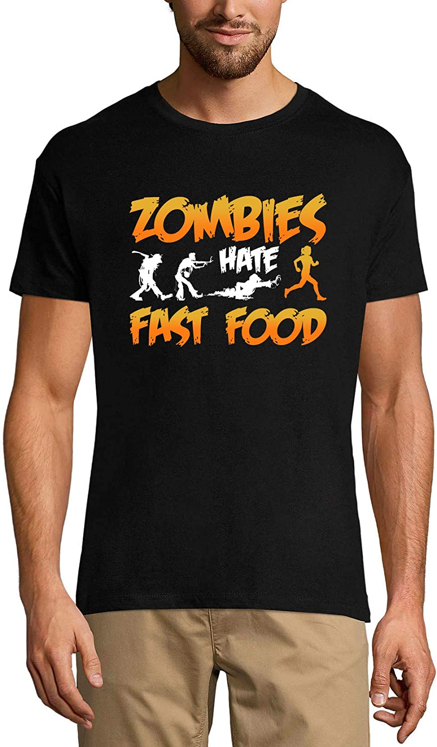 Ultrabasic Men's Novelty T-Shirt Zombies Hate Fast Food - Funny Runner Tee Shirt