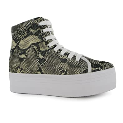 80a31aab6a8c Jeffrey Campbell Play hOMG Snake Platform Shoes Womens Gry Beig Trainers  Sneaker (UK3)