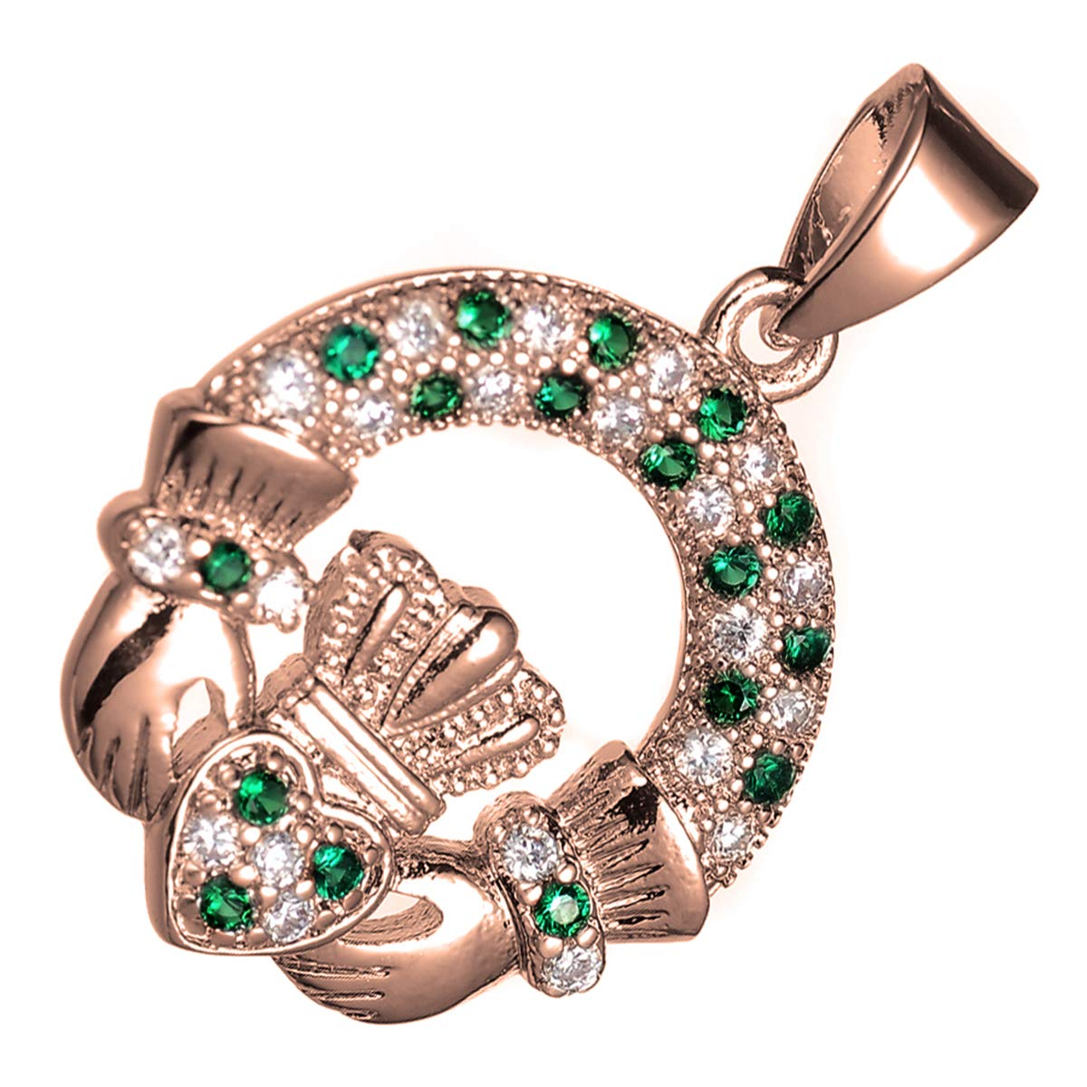 GWG 18K Rose Gold Plated Claddagh Circle Pendant Necklace for Women Jeweled with Coloured Cubic Zirconia Stones