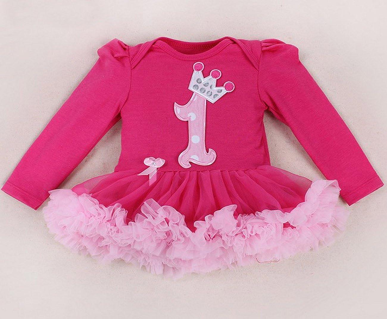 Marlegard/® Baby Girls 4pcs Hot Pink Birthday tut/ù con Fascia Shoe Leggings