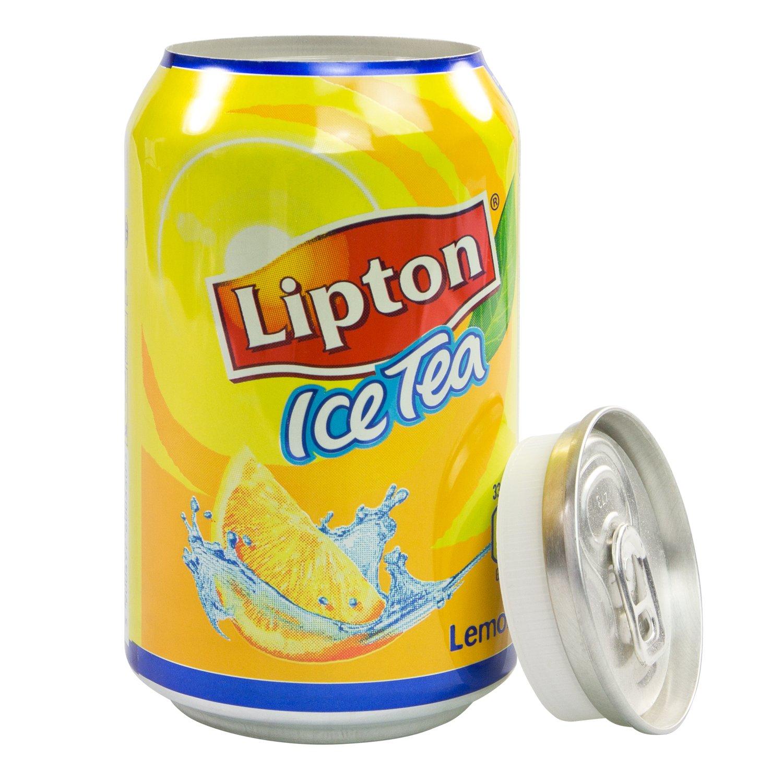 HMF 1723117Salvadanaio/cassaforte/nascondiglio per soldi a forma di lattina di tè freddo Lipton, 11,5x 6,0cm plasticfantastic