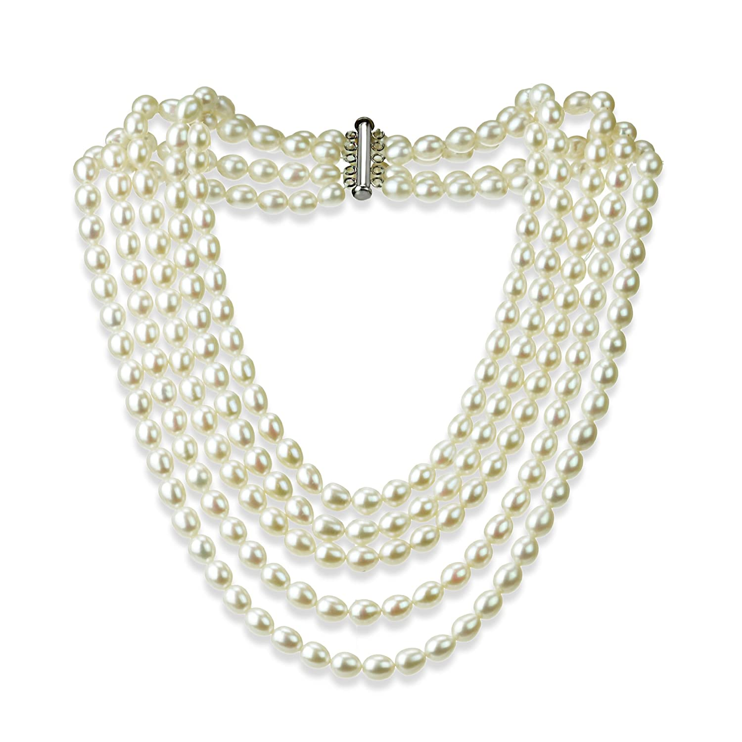 639576ecac52 Amazon.com  Sterling Silver Pearl Necklace with 5-rows Freshwater Cultured  High Luster Pearl Jewelry For Women  Jewelry
