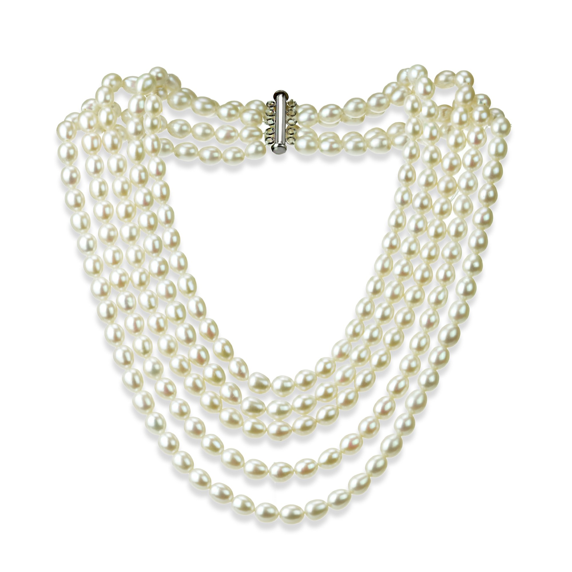 Sterling Silver Pearl Necklace with 5-rows Freshwater Cultured High Luster Pearl Jewelry For Women