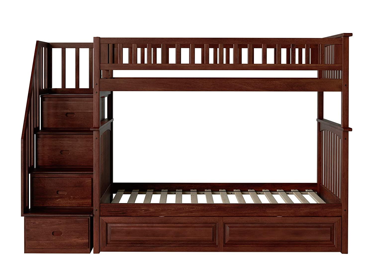 Atlantic Furniture AB55634 Columbia Staircase Bunk Bed with Raised Panel Trundle Bed, Twin Twin, Walnut