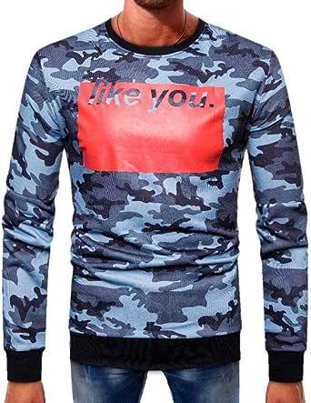 aimee7 – Camiseta de manga larga hombre pas barato Casual camuflaje épissure alto blusa, color azul XXL: Amazon.es: Oficina y papelería