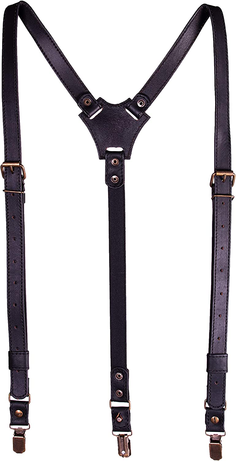AGE - Leather Suspenders For Men Heavy Duty Clips - Black Suspenders For Women