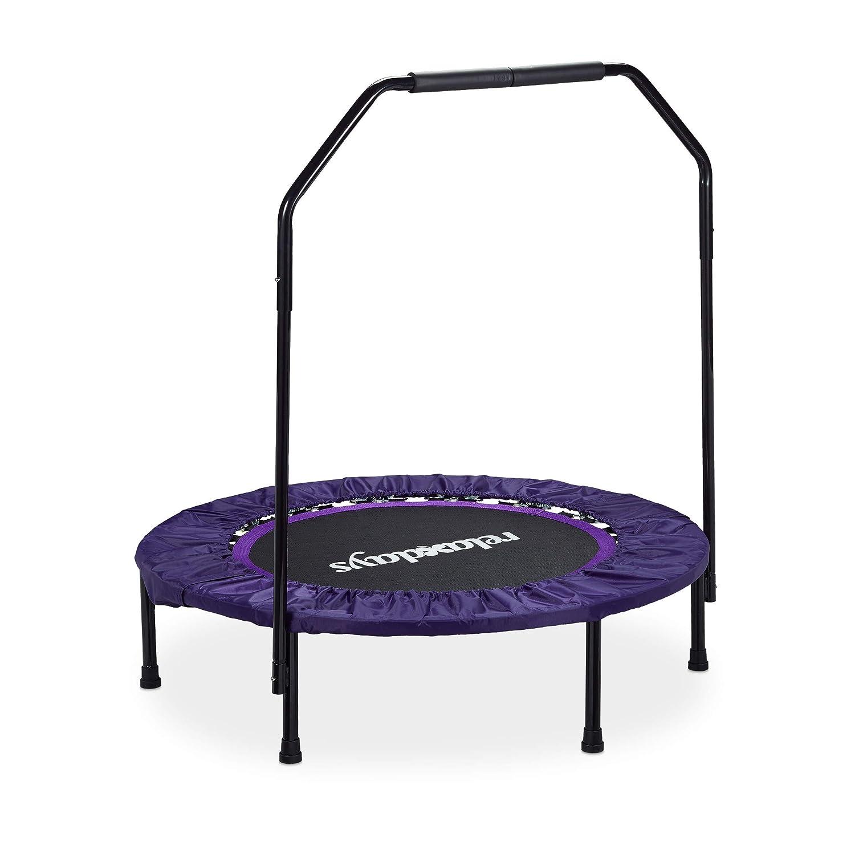 Relaxdays Trampolin faltbar mit Haltestange Indoor H x B x T: 113 x 102 x 102 cm Maximalbelastung: 120 kg schwarz-lila