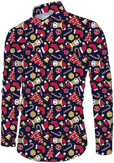 Hombre Blusa NavideñA para Hombre Fiesta MuñEco de Nieve Estampado Camisa de Navidad de Manga Larga Superior Delgada Casual Slim Fit Camiseta Polo para Hombre T-Shirt Oficina BotóN: Amazon.es: Ropa y accesorios