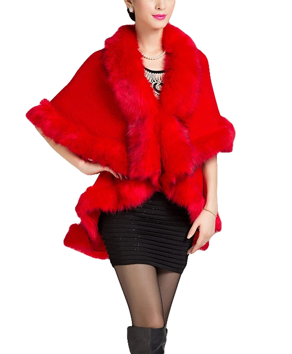 Bright Red PENER Women's Faux Fox Fur Shawl Double Layers Cloak Cape