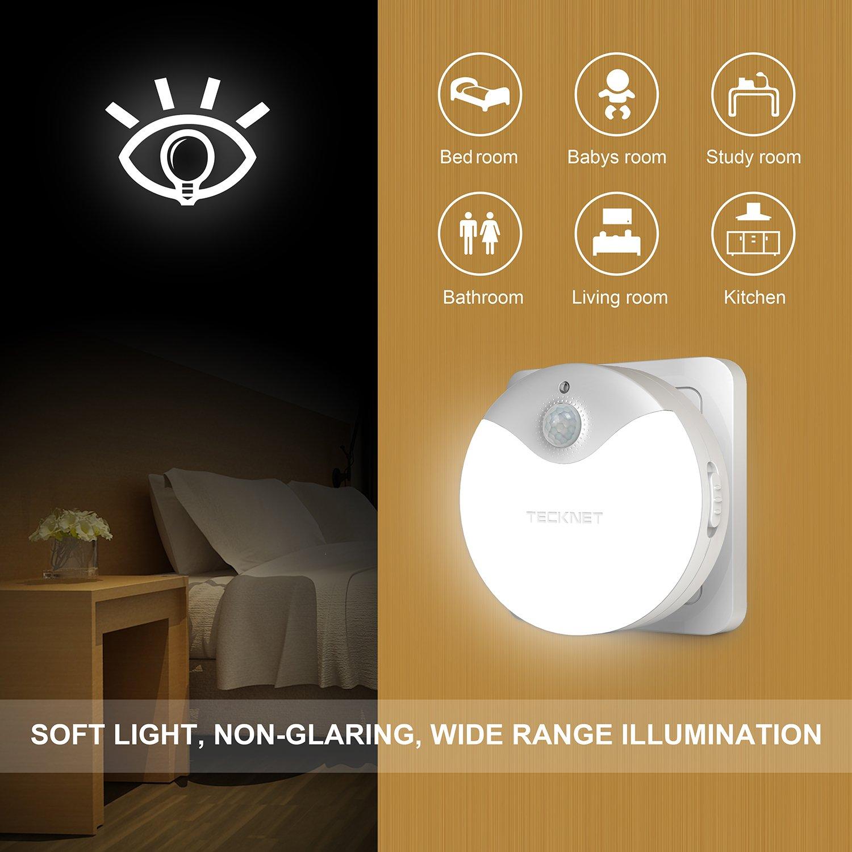LED Nachtlicht, TeckNet LED Wandleuchten Für Steckdose Mit ...