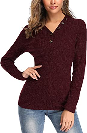 Women Tops Autumn Button Down Long Sleeve Knit Pullover Shirt V Neck Solid Color Blouse Sweater Tees