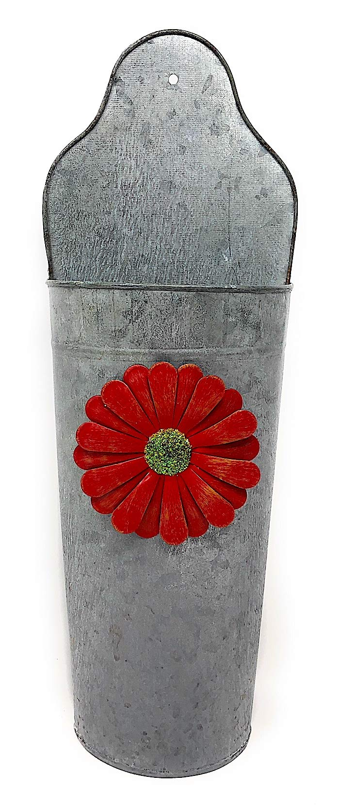 Wall Planter W Red Flower Hanging Galvanized Metal Half Bucket Container Organizer for Flowers Succulent Air Decorative Plants Tools Distressed Indoor Outdoor 16.5'' x 6''