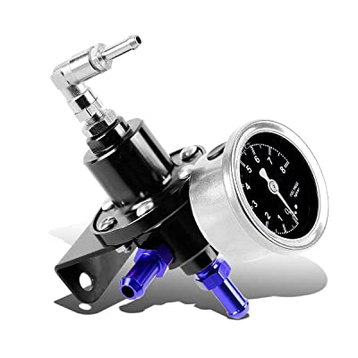 160psi Adjustable Aluminum Fuel Pressure Regulator+Oil Filled Gauge (Black): Automotive