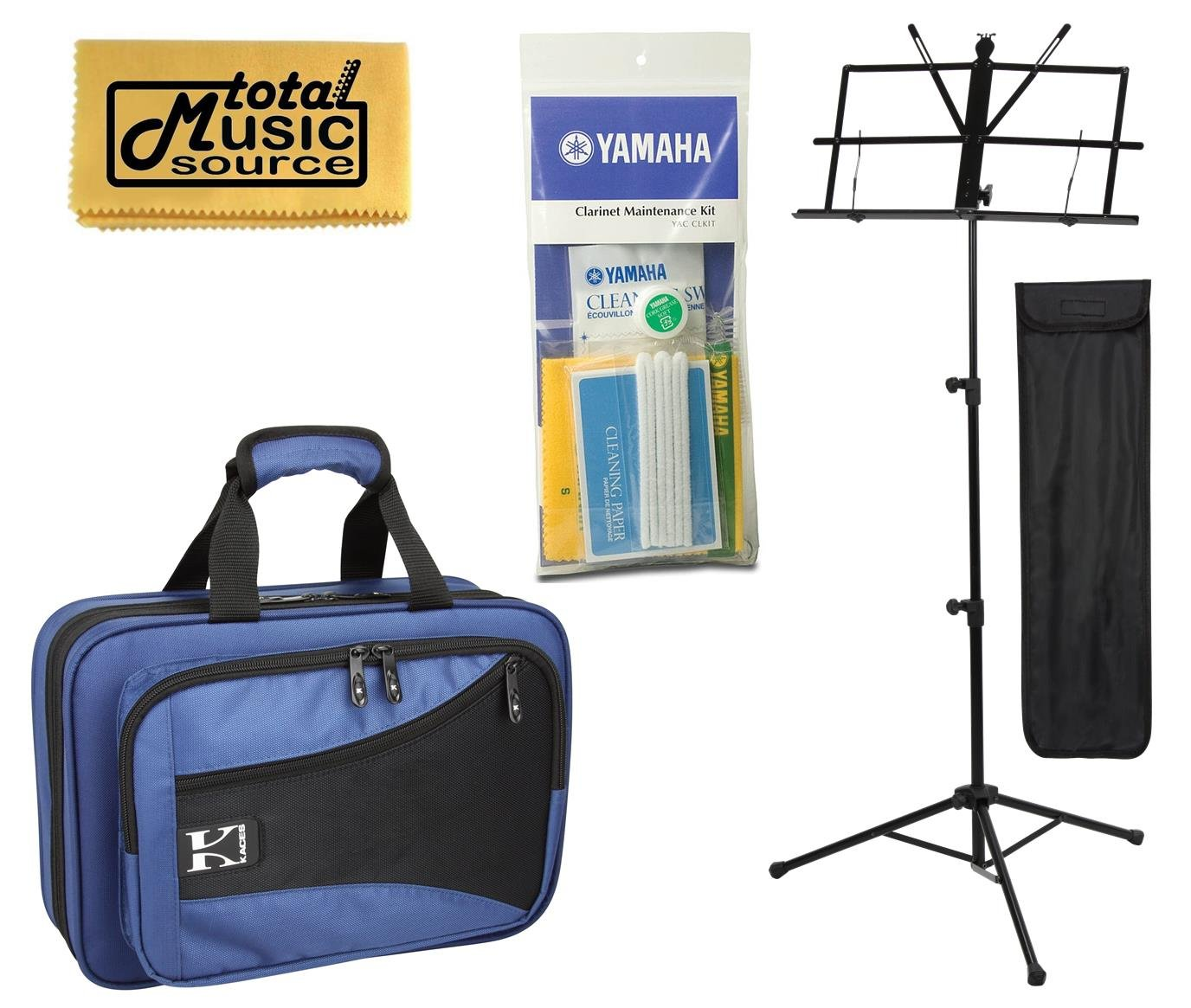 TMS Back To School Clarinet Bundle w/ Blue Kaces Case, Music Stand, Maintenance Kit & Polishing Cloth, KBFB-CL2 PACK