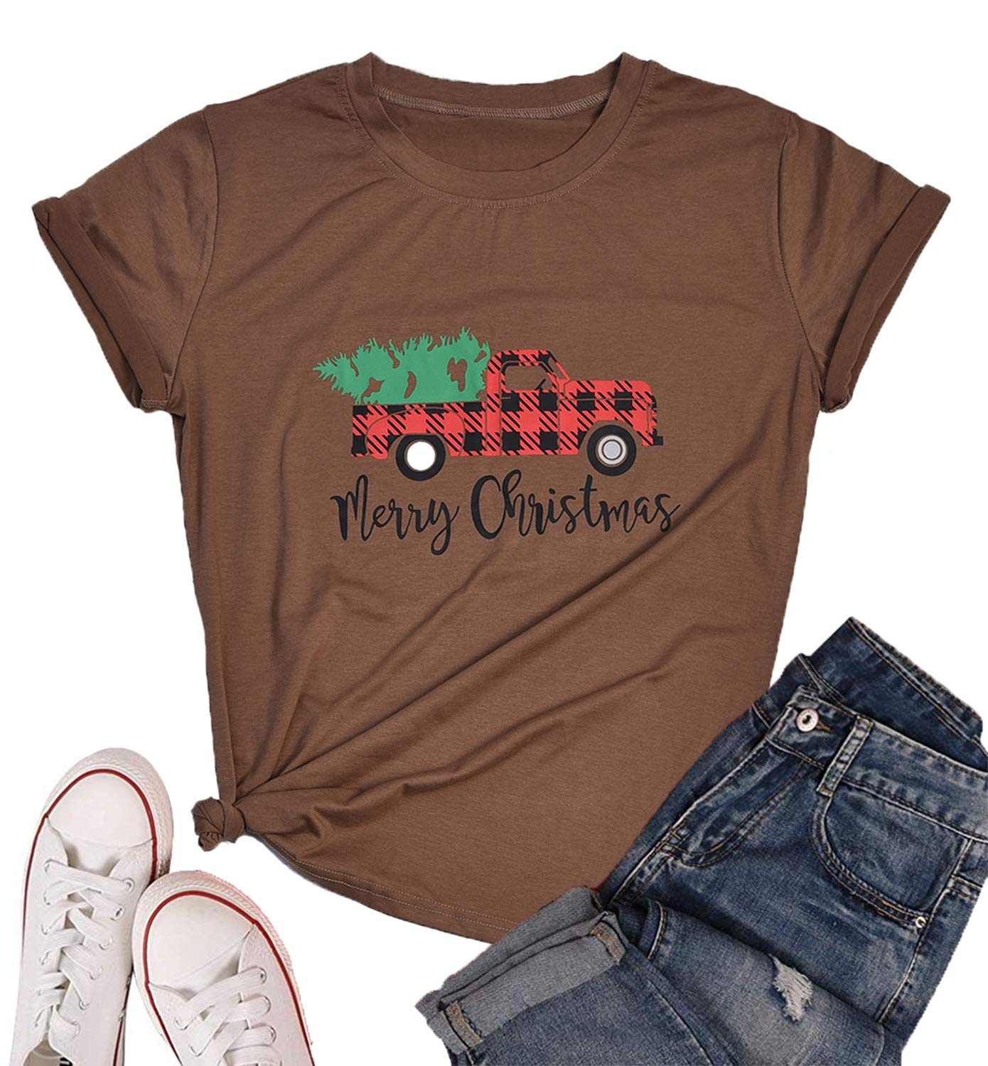 Eanklosco Merry Christmas T-Shirt Women's Casual Letter Tops Short Sleeve Shirts(Khaki,XXL