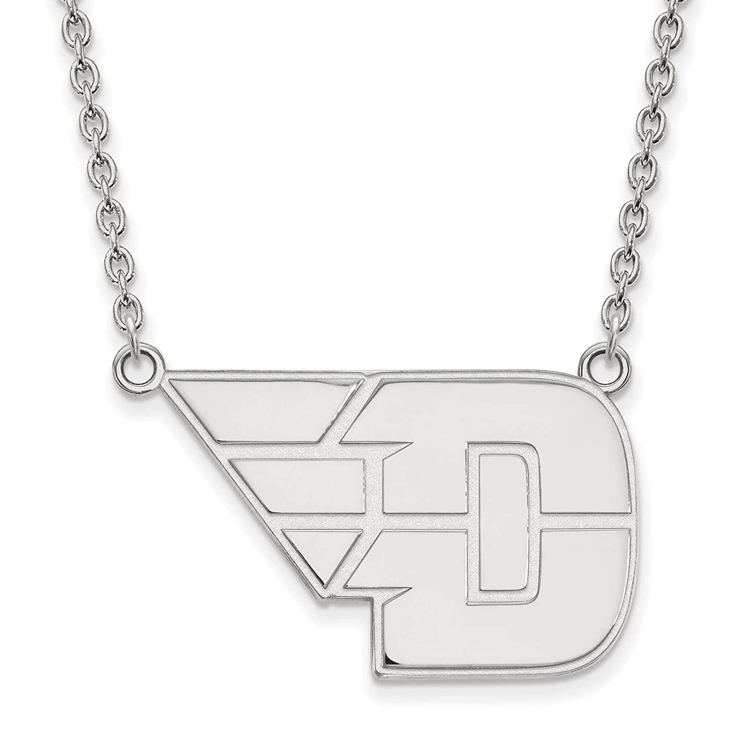 925 Sterling Silver Rhodium-plated Laser-cut University of Dayton Large Pendant w//Necklace 18