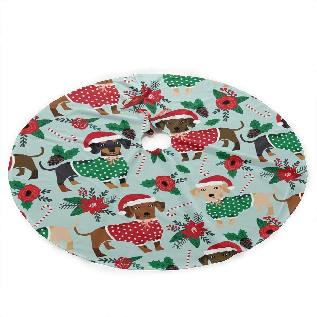 Christmas Sweaters Cute Dachshunds Christmas Tree Skirt with Santa, Xmas Tree Decorations Skirts Holiday Ornaments with Double Edges