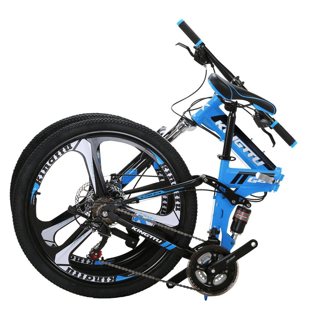 a3d2bae7655 Amazon.com   Kingttu EURG6 Mountain Bike 26 Inches 3 Spoke Wheels Dual  Suspension Folding Bike 21 Speed MTB Bicycle Blue 2019   Sports   Outdoors