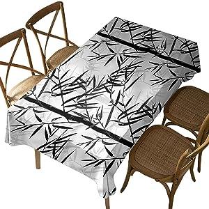 Rectangular Polyester Tablecloth,Bamboo,Floral Chinese Garden Zen,Indoor Outdoor Spillproof Tablecloth Table Cover,for Spring Summer Patio Garden Tabletop Decor Oblong 60 x 104 Inch