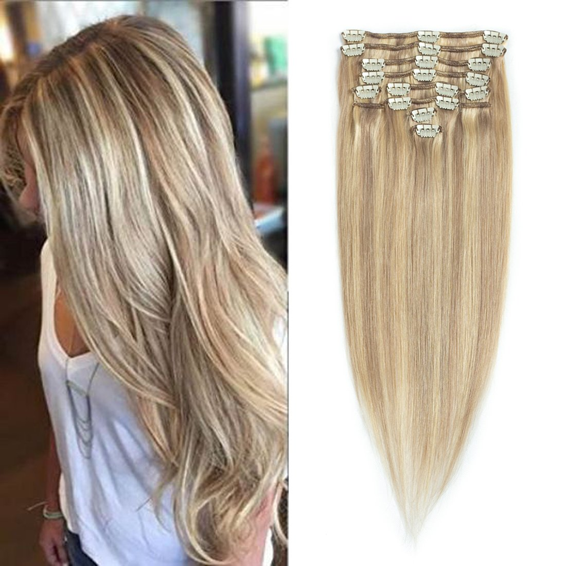 20 inch Ash Blonde/Bleach Blonde(#P18/613), Full Head Clip in Human Hair Extensions, High quality Remy Hair, Silky Straight clip hair Brazilian virgin Hair extensions. (12pcs/set, weighs 95g with 20 clips, 0.8g per clip) Xuchang Sizhuang