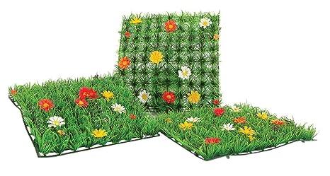 E line mattonella di erba artificiale con fiori per vetrine e